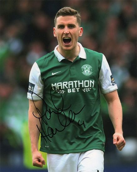 Paul Hanlon, Hibernian, signed 10x8 inch photo.